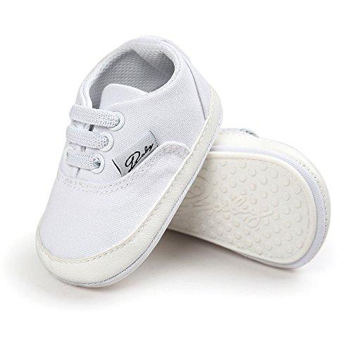 ESTAMICO Baby Jungen Mädchen Schnürsenkel Rutschfest Canvas Schuhe Kleinkind Sneaker Weiß