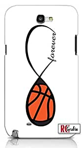 Forever Basketball Infinity Basket Ball Unique Quality Hard Snap On Case for Samsung Galaxy Note 2 Note II N7100 (WHITE)