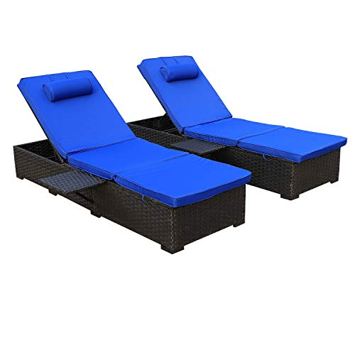Outdoor PE Wicker Chaise Lounge - 2 Piece Patio Black Rattan Reclining Chair Furniture Set Beach Pool Adjustable Backrest Recliners with Royal Blue Cushions (Chaise Reclining Outdoor Lounge)