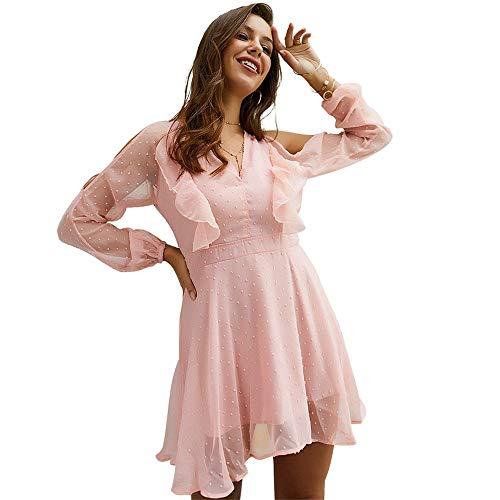 Per Donna Vestito Scollo Corto Vita V Semplice In Rosa Fluente Cocktail Balze Con Abito Feste Alta Cuore Mini Da Rotondo Fiori Lunga Chiffon Manica A 7qx8XTEw
