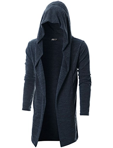 (GIVON Mens Long Sleeve Draped Lightweight Open Front Longline Hooded Cardigan with Pocket/DCC255-NAVY-M)