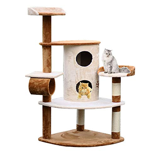 XWDQ Multi-Layer Large Cat Tree Handrail 3 Spacious Apartment Hand-Woven Cat Litter Platform Design Comfortable and Spacious 3 Columns and Toys 150 cm High(Coffee Color+White)