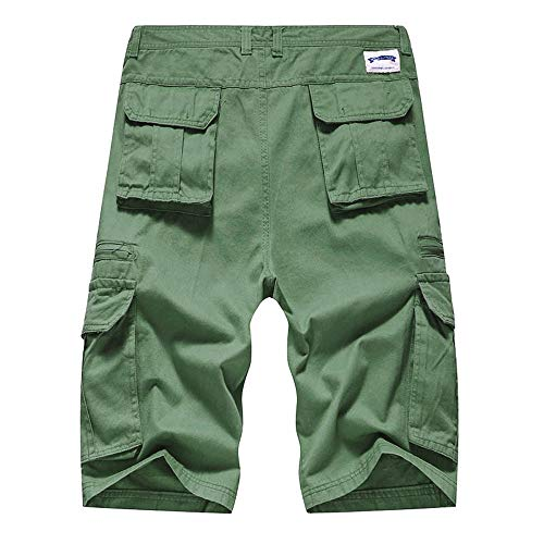 haoricu Men's Summer Outdoor Cargo Shorts Relaxed Fit Multi-Pockets Elastic Waist Casual Shorts Army Green