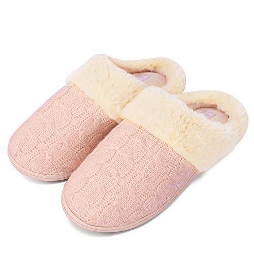 CIOR Fantiny Women's Memory Foam Slippers Sweater Knit Faux Fur Collar Soft Plush Lining Slip-on House Shoes Indoor & Outdoor-U118WMT021-pink-40.41