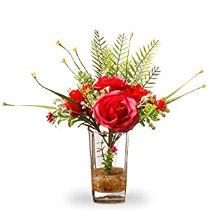 "CC Christmas Decor 12"" Artificial Red Rose Flower Arrangement in Glass Vase 108"