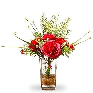 "CC Christmas Decor 12"" Artificial Red Rose Flower Arrangement in Glass Vase 76"