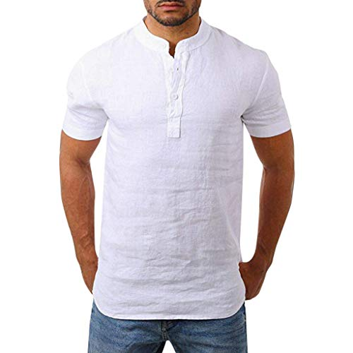 Men Henry Short Sleeve Slim Solid Linen Shirts Male Casual Business Fit Blouse White]()