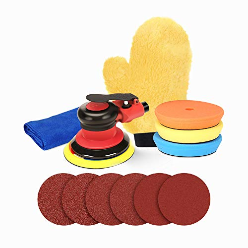 ZFE 5 Inch Air Random Orbital Sander & Polisher, Dual Action Pneumatic Palm Sander for Car Bodywork, Air Powered Sanders with 6 Sandpapers, 3 Polishing Pads, 1 Towel and 1 Glove
