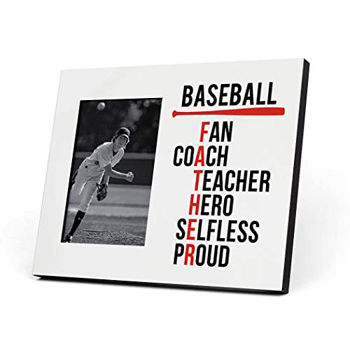 ChalkTalkSPORTS Baseball Photo Frame | Baseball Father Words Picture Frame | White
