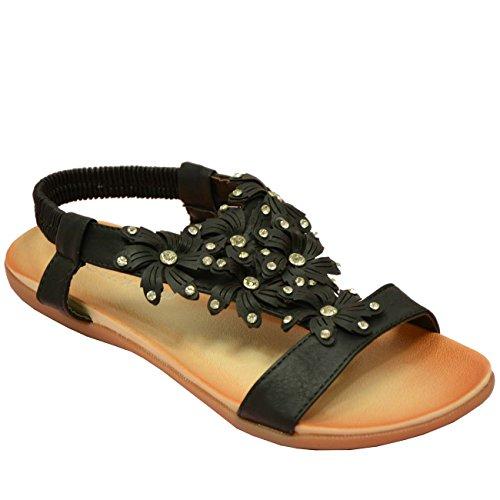Cucu Fashion - Zapatos de tacón  mujer Negro - Black Triangle Flowers