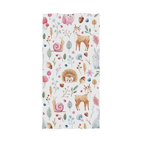 (Watercolor Pink Bunny Owl Hedgehog Terry Men's Spa Wrap Large Bath Towel for Shower Bath - 64