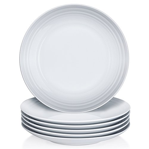 YHY 10.6 inch Porcelain Dinner Plate Set, White Serving Plat