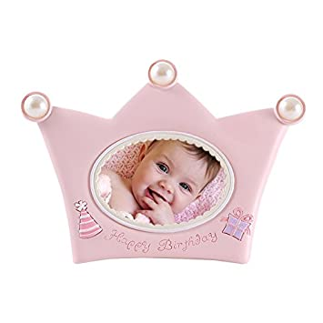 Amazon.com : Mini Baby Picture Frames Pink Pearl Crown Pattern for ...