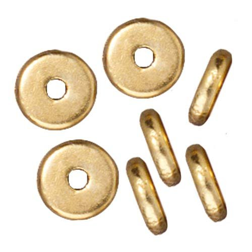 Bright 22K Gold Plated Lead-Free Pewter Disk Heishi Spacer Beads 6mm - Plated Disc Beads Gold