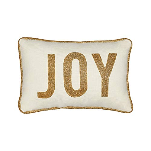 - Collins Fresh and Original - Joy Mini Lumbar Throw Pillow with Gold Glitter Applique, Inspirational or Christmas