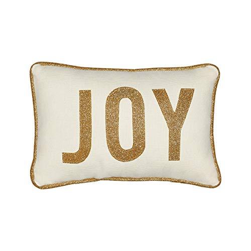 Collins Fresh and Original - Joy Mini Lumbar Throw Pillow with Gold Glitter Applique, Inspirational or Christmas