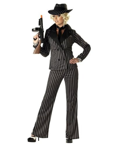 California Costumes Women's Gangster Lady Costume, Black/White, (Women Gangster Costumes)