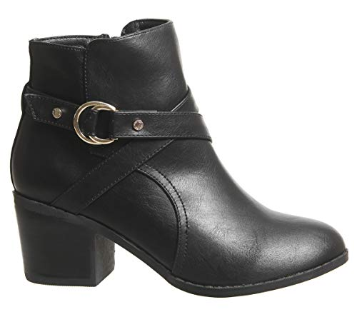 Office Block Strap Heel Angelina Black Boots Ankle zzqwv1r