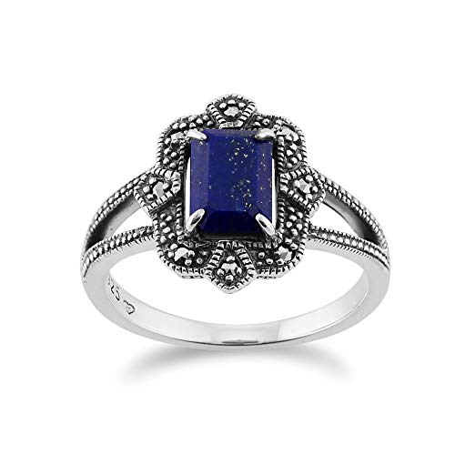 Art Deco Marcasite Ring - 925 Sterling Silver Art Deco Lapiz Lazuli & Marcasite Ring