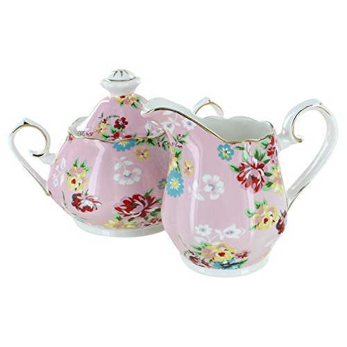 Shabby Rose Pink Porcelain - Sugar and Creamer Set