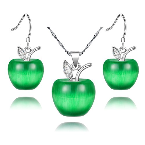 Uloveido Teacher Moms Jewelry Set Gift White Gold Plated Dark Green Apple Earrings Drop Necklace with Cubic Zirconia Stone for Girls Women YL007