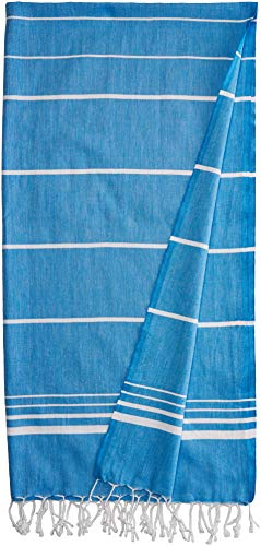 (Paradise Series Turkish Bath Towels - Traditional Peshtemal Design for Bathrooms, Beach, Sauna - 100% Natural Cotton, Ultra-Soft, Fast-Drying, Absorbent - Warm, Rich Colors with Stripes Blue)