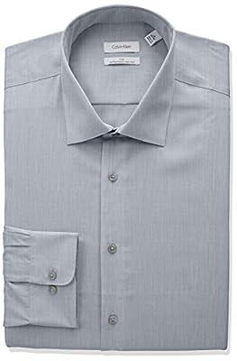 Calvin Klein Men's Big and Tall Non Iron Big Fit Herringbone Spread Collar Dress Shirt