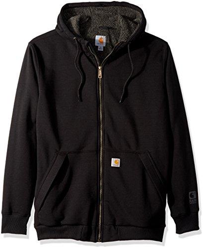 Carhartt Men's Big and Tall Big & Tall RD Rockland Sherpa Lined Hooded Sweatshirt, Black, Large