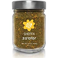 SHEFFA Zaatar Spice Blend Aromatic Hyssop Seasoning (3.5 oz glass jar) Traditional Middle Eastern Za atar - Fresh Zesty Zatar Mix of Thyme, Sumac, Sesame Seed, z zahtar za'atar zataar - Gluten Free