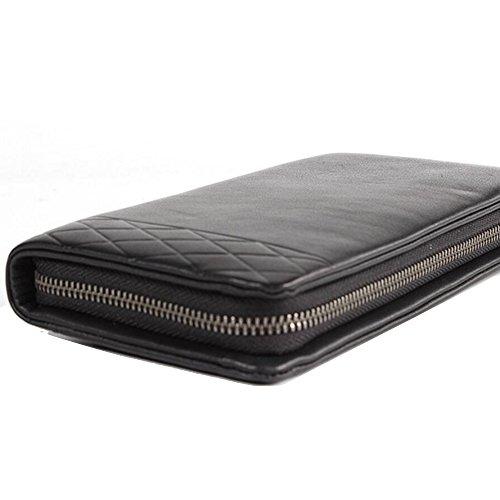 JUNBOSI Herrenhandtasche - Große Kapazität weiche Leder lange Hand Clutch - Premium-Leder-Geldbörse - Business-Tasche - Herren Clutch Schwarz