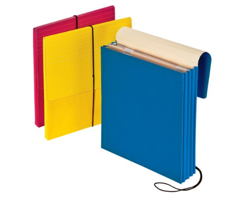 Wallet Reinforced Expanding Vertical - Pendaflex Vertical Wallet, Letter, 3.5-Inch Expansion, Blue, Red, Yellow, 3 Per Pack 14003