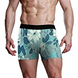 ANJISY Men's Underwear Boxer Briefs Flower Pattern Blue White Customised Breathable Lightweight