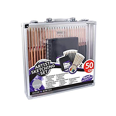 Daler Rowney Artist Sketching Set, 50 Pieces with Carrying Case Includes 40 Colored Pencils, 8 Sketching Pencils, 1 Sharpener, 1 Sketch Book, 1965007002