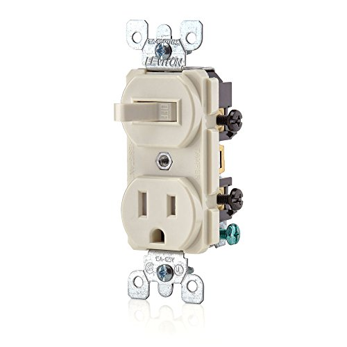 Leviton T5225-T Combination, 15 Amp, 120 Volt AC Toggle Switch, and 15amp, 125 Volt 5-15R Tamper Resistant Receptacle, Grounding, Light Almond