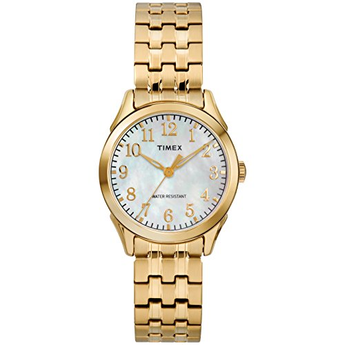 Timex Women's TW2R48500 Briarwood Gold-Tone/MOP Stainless Steel Expansion Band Watch ()