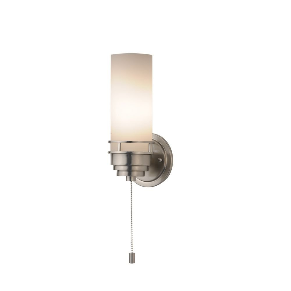 Contemporary Single Light Sconce With Pull Chain Switch   Wall Sconces    Amazon.com