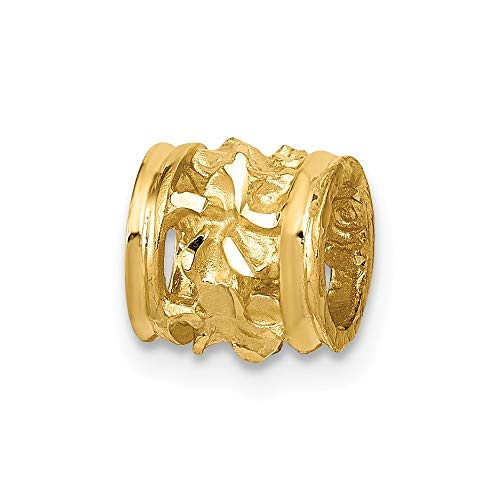 14K Yellow Gold Diamond-cut Mini Plumeria Barrel Chain Slide Pendant from Roy Rose Jewelry