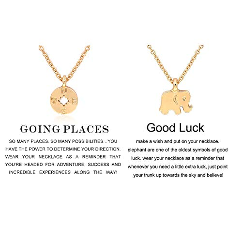 CYBERNY Women Going Places Compass Pendant Necklace with Graduation Message Card Golden