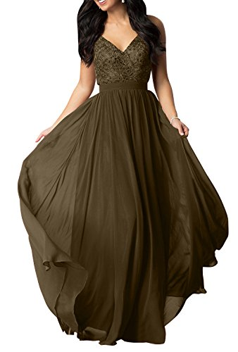 Linie Spitze Lang Chiffon Abschlussballkleider V Abendkleider Partykleider Braun mia Brautmutterkleider A La Brau Ausschnitt Iw71Yq