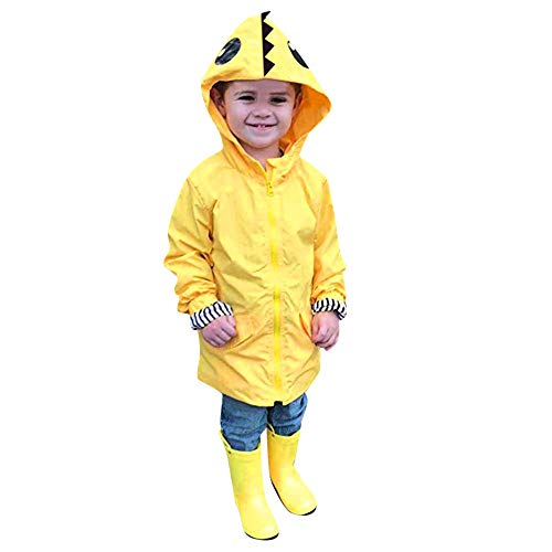 (Birdfly Unisex Kids Animal Raincoat Cute Cartoon Jacket Hooded Zip Up Coat Outwear Baby Fall Winter Clothes School Oufits (4T,)