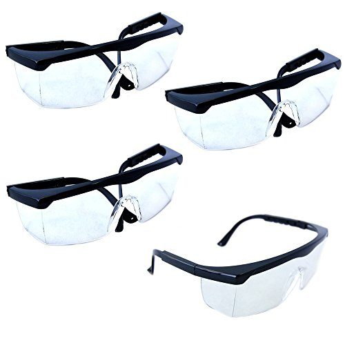 HQRP Safety Glasses/UV Protection Eyewear (Pack of 4) for Laser Hair Remover system, UV Nail Dryer Nail Curing Lamps, Beauty/Nail Salon + HQRP UV Meter