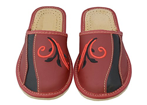 chaussons rouge Chaussons confort pantoufles noir Bawal pantoufles naturel 36 cuir les femmes marron taille 41 pour w6dUd8q