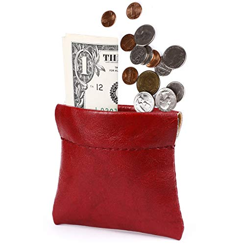 amelleon Leather Coin Purse for Men & Women - Front Pocket Purse for Bill and Coins (Red)
