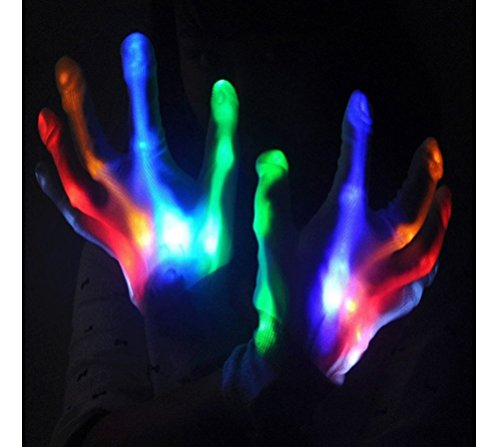 Hysada LED Gloves, Flashing Gloves 5 Color 6 Modes Light-up Rainbow Finger Light Rave Gloves for Halloween, Christmas, Clubbing, Birthday Party and Festivals]()