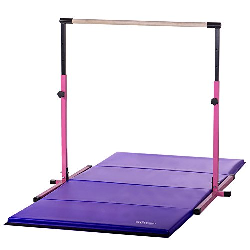 Nimble Sports Pink Adjustable Gymnastics Bar and 4 Feet X 8 Feet Purple Gymnastics Mat