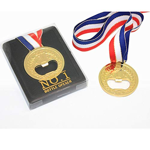 - Openers - No.1 Winner Gold Medal Bottle Opener Champion Beer - Automatic Metal Winner Luxury Gift Pull Sport Holder League Ribbon Honor Party Champion Souvenir Footbal Award Skeleton Mech