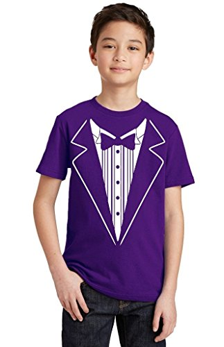 - P&B Tuxedo White Funny Youth T-Shirt, Youth XL, Purple