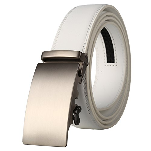 Lavemi Men's Real Leather Ratchet Dress Belt with Automatic Buckle,Elegant Gift Box(25-0711 White leather) ()