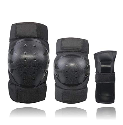 (Knee Pads for Kids/Youth/Adult Elbows Pads Wrist Guards 3 in 1 Protective Gear Set for Skateboarding,Roller Skating,Rollerblading,Snowboarding,Cycling and Multi Sports(S/M/L) (Black, Small))