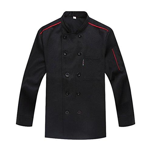 WAIWAIZUI Chef Coat Chef Jacket Service Uniform Long Sleeves Black Size L (Label:3XL) by WAIWAIZUI
